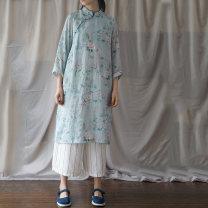 Dress Summer of 2019 Average size longuette singleton  Long sleeves commute stand collar Loose waist Socket routine Retro hemp