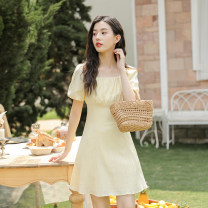 Dress Summer 2021 yellow S,M,L Short skirt singleton  Short sleeve commute square neck High waist Solid color Socket A-line skirt puff sleeve 18-24 years old Type A literature Pleats, stitches, zippers Q-0809DD12