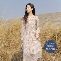 Dress Spring 2021 Pink S,M,L longuette singleton  Long sleeves commute square neck High waist Broken flowers Socket A-line skirt pagoda sleeve 18-24 years old Type A literature Chiffon