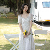 Dress commute A-line skirt Type A literature summer Summer 2021 Short sleeve singleton  longuette Design and color square neck High waist puff sleeve 18-24 years old Condom other Other Q-MY2225DE01 Chiffon Auricularia auricula, button, zipper S,M,L