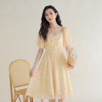 Dress Summer 2021 Apricot flower S,M,L Mid length dress singleton  Short sleeve commute square neck High waist Broken flowers zipper A-line skirt puff sleeve 18-24 years old Type A literature Bowknot, Auricularia auricula, stitching, zipper, printing QY-MY6095DD19 Chiffon