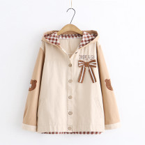 short coat Autumn 2020 Average size Long sleeves routine routine singleton  easy Sweet routine Hood Single breasted Cartoon animation Under 17 91% (inclusive) - 95% (inclusive) cotton cotton