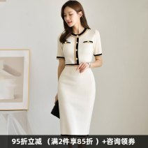 Dress Summer 2020 white S,M,L,XL Mid length dress singleton  Short sleeve commute Crew neck High waist Solid color zipper One pace skirt routine Others 30-34 years old Type X Dongzhou Yali Ol style Stitching, buttons, split 9687M130 More than 95% other polyester fiber