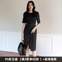 Dress Summer 2020 Black, black 3 / 4 sleeves S. M, l, XL, 2XL, 3XL, 4XL, private size customized Middle-skirt singleton  Short sleeve commute Crew neck High waist Socket One pace skirt routine Others 30-34 years old Type X Dongzhou Yali Ol style T20190322M120L9081 More than 95% other polyester fiber