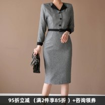 Dress Autumn of 2019 grey S,M,L,XL,2XL Mid length dress singleton  Long sleeves commute V-neck High waist Solid color Three buttons One pace skirt routine Others 30-34 years old Type X Dongzhou Yali Ol style Lace up, strap, button, zipper T20190916L9369M150 91% (inclusive) - 95% (inclusive) other