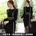 Dress Winter of 2018 Black, apricot S. M, l, XL, 2XL, 3XL, 4XL, private size customized Middle-skirt singleton  Long sleeves commute Crew neck High waist Solid color Socket Pencil skirt routine Others 30-34 years old Type X Dongzhou Yali Ol style Stitching, side split T20181219ML9016_ 01 other