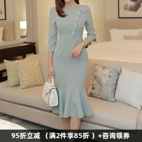 Dress Winter of 2018 Gray, black, yellow, light green S. M, l, XL, 2XL, 3XL, 4XL, private size customized Mid length dress singleton  Long sleeves commute Crew neck High waist Solid color zipper One pace skirt routine Others 30-34 years old Type X Dongzhou Yali Ol style T20181224ML9011_ 01 other