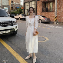 Dress Summer 2020 white S,M,L Mid length dress singleton  three quarter sleeve commute Admiral High waist Solid color zipper Princess Dress shirt sleeve Others 25-29 years old Type H Korean version Lace, embroidery, zipper, lace 191220#1 Lace cotton