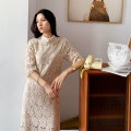 Dress Summer 2020 milky white S,M,L Mid length dress singleton  elbow sleeve commute stand collar Loose waist Solid color A button One pace skirt routine 25-29 years old Type A Korean version More than 95% Lace cotton