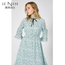 Dress Autumn of 2019 Decor S M L XL Mid length dress singleton  three quarter sleeve Sweet stand collar Elastic waist Socket A-line skirt Petal sleeve 25-29 years old Type A IEN / confession More than 95% polyester fiber Polyester 100% solar system