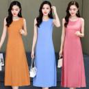 Women's large Summer 2021 Dress singleton  commute easy thin Socket Sleeveless Solid color Korean version Crew neck Medium length cotton routine belt Medium length Pleated skirt