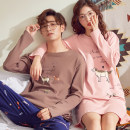 Pajamas / housewear set lovers Other / other cotton Long sleeves Cartoon pajamas spring routine Crew neck Cartoon animation trousers Socket youth 2 pieces rubber string More than 95% pure cotton printing Middle-skirt