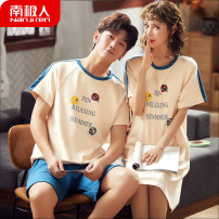 Pajamas / housewear set lovers NGGGN cotton Short sleeve Sweet pajamas summer Thin money Crew neck Cartoon animation shorts Socket youth 2 pieces rubber string More than 95% pure cotton printing Middle-skirt