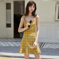 Dress Summer 2021 yellow S,M,L Short skirt singleton  Sleeveless commute other lattice Ruffle Skirt other camisole 18-24 years old Type A Korean version 31% (inclusive) - 50% (inclusive)