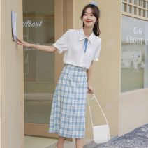 Fashion suit Summer 2021 Average size Shirt + plaid skirt, white shirt, plaid skirt 18-25 years old 51% (inclusive) - 70% (inclusive) polyester fiber