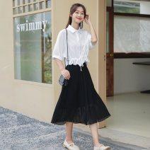 Fashion suit Summer 2021 S,M,L Shirt + black chiffon skirt, shirt, black chiffon skirt 18-25 years old 31% (inclusive) - 50% (inclusive) cotton