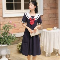 Dress Summer 2021 White, Navy S,M,L Middle-skirt singleton  Short sleeve Sweet Crew neck Loose waist Solid color Socket Big swing routine 18-24 years old Type A Bows, folds, stitches, straps, buttons 31% (inclusive) - 50% (inclusive) cotton college