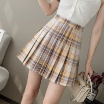 skirt Summer 2021 S,M,L,XL Short skirt Sweet High waist Pleated skirt lattice Type A 18-24 years old More than 95% other other Pleated, zipper college