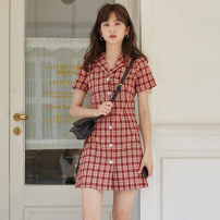 Dress Summer 2021 gules S,M,L Short skirt singleton  Short sleeve commute lattice other other Others 18-24 years old Type A Korean version Button five point one one 31% (inclusive) - 50% (inclusive)