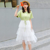 Dress Summer 2021 Green, Navy S,M,L,XL,2XL Middle-skirt singleton  Short sleeve commute Hood Elastic waist Solid color zipper other routine Others 18-24 years old Type X Other / other Korean version zipper 30% and below cotton