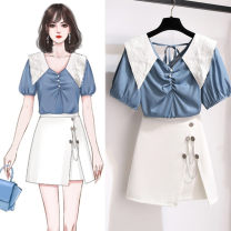 Fashion suit Summer 2021 S,M,L,XL Blue top, white skirt, picture color suit 18-25 years old 30% and below