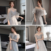Dress / evening wear Weddings, adulthood parties, company annual meetings, daily appointments XS S M L XL XXL grace longuette middle-waisted Winter 2020 Fall to the ground One shoulder Bandage 18-25 years old JYXLF359 Nail bead Solid color Jingyi puff sleeve Polyester 100% Pearl