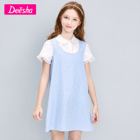 suit Deesha / Desha Genuine blue lattice brand 120cm 130cm 140cm 150cm 160cm 165cm female summer princess Short sleeve + skirt 2 pieces routine There are models in the real shooting Socket nothing other other children Cotton 100% Summer 2021