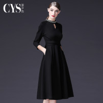 Dress Autumn 2020 S M L XL XXL XXXL Mid length dress singleton  Long sleeves commute stand collar middle-waisted Solid color zipper Big swing routine Others 30-34 years old Type A Yin Chao Retro 51% (inclusive) - 70% (inclusive) other nylon Pure e-commerce (online only)