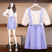 Women's large Summer 2021 Picture color suit Large XL, large XXL, large XXL, large XXXXL, large L Dress Two piece set moderate Socket Short sleeve Solid color other routine cotton Three dimensional cutting other 8348# BXE Button Middle-skirt Ruffle Skirt Lotus leaf edge