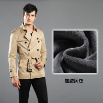 Windbreaker Others Business gentleman double-breasted Medium length Self cultivation go to work autumn youth Lapel Business Casual New polyester fiber 100% Solid color rivet