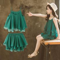 Dress green female Bedo Lulu Other 100% summer princess Skirt / vest Solid color other A-line skirt Summer of 2019 2 years old, 3 years old, 4 years old, 5 years old, 6 years old, 7 years old, 8 years old, 9 years old, 10 years old, 12 years old, 13 years old, 14 years old