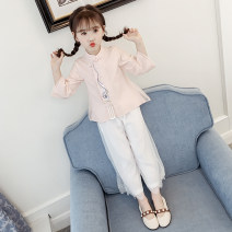 suit Bedo Lulu Pink Blue [new] 110cm 120cm 130cm 140cm 150cm 160cm female spring and autumn Korean version Long sleeve + pants 2 pieces Thin money There are models in the real shooting Diagonal lace up nothing Solid color children Expression of love ND-SF306 Spring 2020