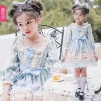 Dress Collection and headwear (dress) female Jingyuefang 100cm / s 110cm / M 120cm / L 130cm / XL 140cm / XXL 150cm / XXXL Polyester 100% princess 3 years old, 4 years old, 5 years old, 6 years old, 7 years old, 8 years old, 9 years old, 10 years old, 11 years old, 13 years old, 14 years old