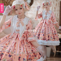 Dress Summer of 2019 ~OP Dress ~ (without skirt and headdress) ~ OP dress + bow headdress ~ (without skirt) ~ OP dress + Lace headdress ~ (without skirt) S M L Middle-skirt Short sleeve Admiral High waist Socket Princess Dress Others 18-24 years old Jingyuefang More than 95% polyester fiber