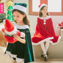 Children's performance clothes Red dress with Cape + shorts ~ free hat (excluding foot cover) green dress with Cape + shorts ~ free hat (excluding foot cover) female 100cm / s 110cm / M 120cm / L 130cm / XL 140cm / XXL 150cm / XXXL adult: 160cm / M Jingyuefang 1855-1