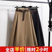 Women's large Summer 2021 Black Khaki L XL 2XL 3XL 4XL skirt singleton  commute easy moderate Socket Solid color Korean version other Medium length Polyester others Three dimensional cutting other ALS#7275# Alinakaran 25-29 years old belt Medium length Other 100% Pure e-commerce (online only)