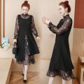 Dress Spring 2021 Floral skirt XL [recommended 100-120 kg], 3XL [recommended 140-160 kg], l [recommended 90-100 kg], 5XL [recommended 180-200 kg], 4XL [recommended 160-180 kg], 2XL [recommended 120-140 kg] Mid length dress Fake two pieces Long sleeves commute High collar Loose waist Broken flowers