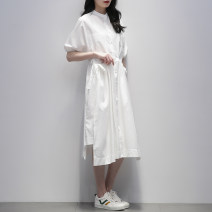 Dress Summer 2021 White black Navy S M L Mid length dress singleton  Short sleeve commute stand collar Loose waist Solid color Single breasted A-line skirt routine 25-29 years old Type A Jiulala Korean version Pleated pocket strap button GW202L1089 More than 95% brocade cotton Cotton 100%