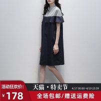 Dress Summer 2021 Navy Blue S M L Mid length dress singleton  Short sleeve commute square neck Loose waist Solid color Socket A-line skirt routine 25-29 years old Type H Jiulala Korean version Ruffle stitching G202L1026 More than 95% other cotton Cotton 100% Pure e-commerce (online only)