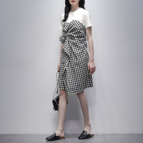 Dress Summer 2021 Black and white S M L Mid length dress singleton  Short sleeve commute Crew neck High waist lattice Socket Irregular skirt routine 25-29 years old Type A Jiulala Korean version Splicing asymmetry 51% (inclusive) - 70% (inclusive) other cotton Pure e-commerce (online only)