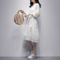 Dress Summer 2021 white S M L Mid length dress singleton  three quarter sleeve commute V-neck Loose waist Solid color Socket A-line skirt bishop sleeve Others 25-29 years old Type A Jiulala Korean version Cut out lace 212L1256 More than 95% other cotton Cotton 100% Pure e-commerce (online only)