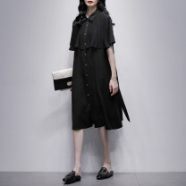 Dress Summer 2021 black S M L Mid length dress singleton  Short sleeve commute Polo collar Loose waist Solid color Single breasted A-line skirt routine Others 25-29 years old Type A Jiulala Korean version Auricular lace up 212L1244 More than 95% Chiffon other Lyocell 100%
