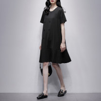 Dress Summer 2021 black S M L Mid length dress singleton  Short sleeve commute Crew neck Loose waist Solid color Socket A-line skirt routine Others 25-29 years old Type A Jiulala Korean version Fold splicing 212L1242 More than 95% knitting other Other 100% Pure e-commerce (online only)