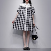 Dress Summer 2021 Black and white S M L Mid length dress singleton  Short sleeve commute Polo collar Loose waist lattice Single breasted A-line skirt routine Others 25-29 years old Type A Jiulala Korean version Patchwork lace 212L1249 More than 95% cotton Cotton 100% Pure e-commerce (online only)