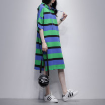 Dress Summer 2021 Orange blue Average size Mid length dress singleton  Short sleeve commute Hood Loose waist stripe Socket A-line skirt routine Others 25-29 years old Type A Jiulala Korean version pocket W212L1268 More than 95% cotton Cotton 100% Pure e-commerce (online only)