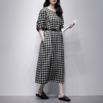 Dress Summer 2021 Black and white check (free belt) S M L Mid length dress singleton  Short sleeve commute Crew neck middle-waisted lattice Socket A-line skirt bishop sleeve Others 25-29 years old Type A Jiulala Korean version belt 212L1237 31% (inclusive) - 50% (inclusive) cotton