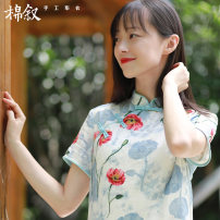 Dress Summer of 2018 Beauty on a white background M L Middle-skirt singleton  Short sleeve commute stand collar Loose waist Big flower Socket routine 30-34 years old Mianxu Retro M8075 51% (inclusive) - 70% (inclusive) cotton Cotton 59% viscose (viscose) 41% Pure e-commerce (online only)