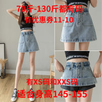 skirt Summer 2021 Xs, s, m, l, XL, XXS for height 145-155 blue Short skirt Versatile High waist A-line skirt other Type A 18-24 years old More than 95% other Zhenyaluo other Rivet, strap, button