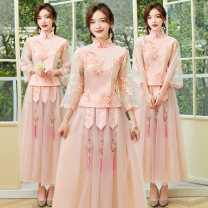 Dress / evening wear Wedding, adulthood, party, company annual meeting, performance, routine, appointment S,M,L,XL,XXL,XXXL H1 meat pink, H1 grey Retro longuette middle-waisted Winter 2020 A-line skirt stand collar zipper Netting 18-25 years old H1 Long sleeves Embroidery Solid color routine other