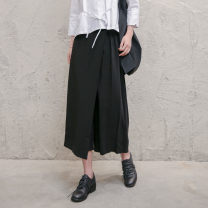 Casual pants black S,M,L Summer of 2019 Ninth pants Wide leg pants Natural waist street routine 18-24 years old 81% (inclusive) - 90% (inclusive) nylon fold nylon neutral Asymmetry